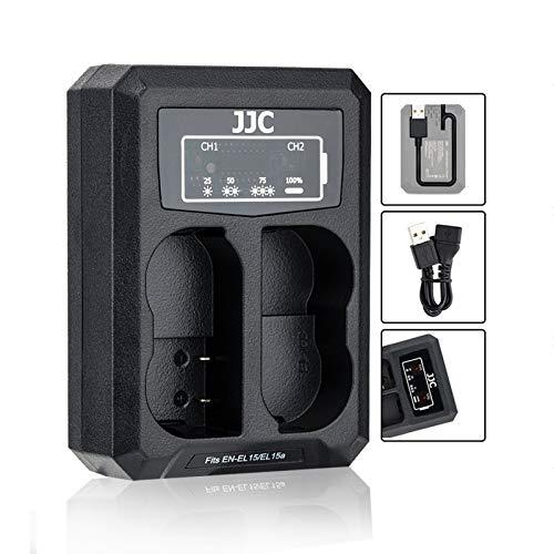 Cargador de batería EN-EL15 EN-EL15a EN-EL15b con doble cargador USB integrado, compatible con Nikon Z6 Z6 II Z7 II Z7 D850 D810A D810 D800E D800 D750 D610 D600 D500 D7500 D750 D750 200 D. 7100 D7000