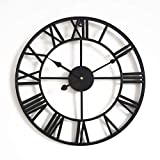 DZX Reloj de Pared Decorativo para Sala de Estar, Reloj de Pared Grande de 40 cm Que no Hace tictac - Reloj de Pared silencioso con números Romanos de Metal Simple Vintage, Negro, Reloj de Pared