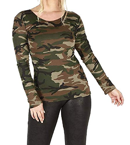 GirlzWalk Frauen Lange Hülsen Leopard Tier Druck Dehnbar Top Damen Hemd (XX-Large/EU 48-50, Armeetarnung)