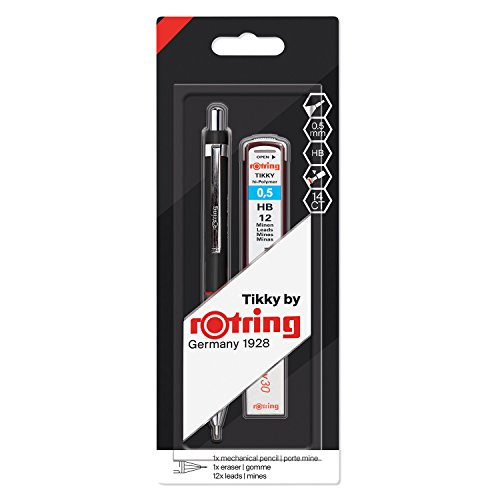 rOtring Tikky Mechanical Pencil Set, HB 0.5 mm, Black Barrel, Includes 12 Leads and Eraser