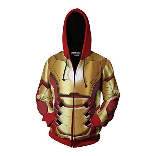 MODRYER Avengers Sweatshirt Iron Man Hoodie 3D Printed Drawstring Pullover Halloween Christmas Fancy Dress Costume with Kangaroo Pocket,XXL