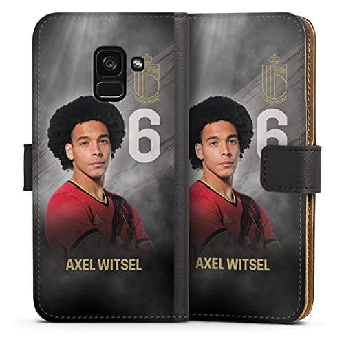 DeinDesign Klapphülle kompatibel mit Samsung Galaxy A8 Duos 2018 Handyhülle aus Leder schwarz Flip Hülle Belgien Fußballspieler Offizielles Lizenzprodukt