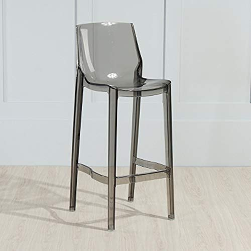 PIJN Chair Acrylic Dining Chairs Transparent Seat Fully Clear Bar Chair High Stool Chair For Restaurant Cafe Bar Or Living Room Decoration Home Office Dining (Color : Gray, Size : 65cm)