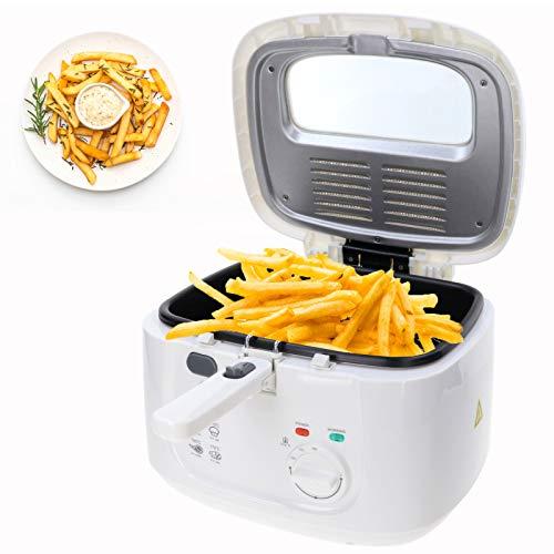 Friteuse 2,5 Liter Fritöse inklusive Filter 1800 Watt große Fritteuse für Pommes, Fischstäbchen kompakt klein vegetarisches und veganes Kochen mit Öl oder Fett