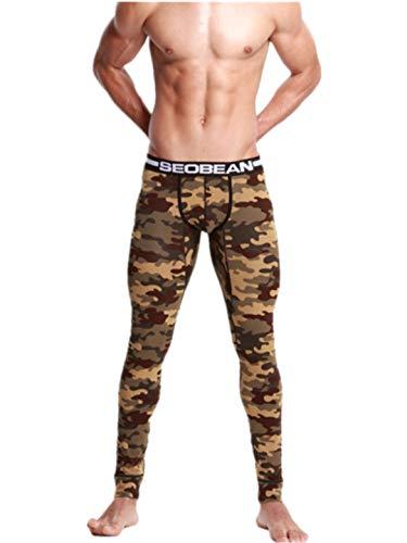 TEBAISE Männer Leggings lang Unterhose Unterwäsche Strumpfhose Herrenleggings Hose Herren Pro Cool Compression Tights Yoga Leggings(A-Armee grün,2XL)