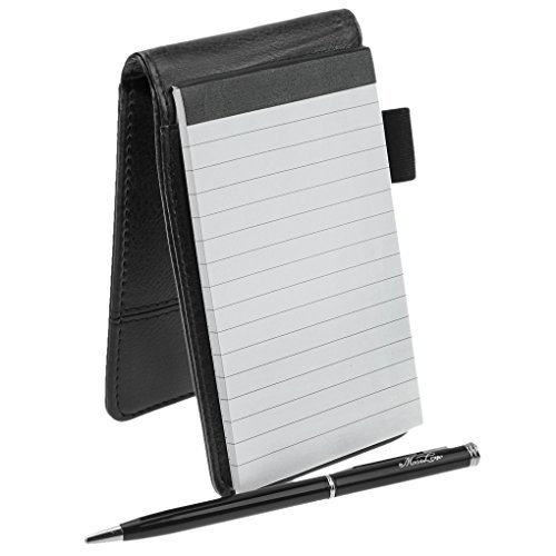 Small Pocket PU Leather Business Notebook Lined Memo Pad Holder Jotter...