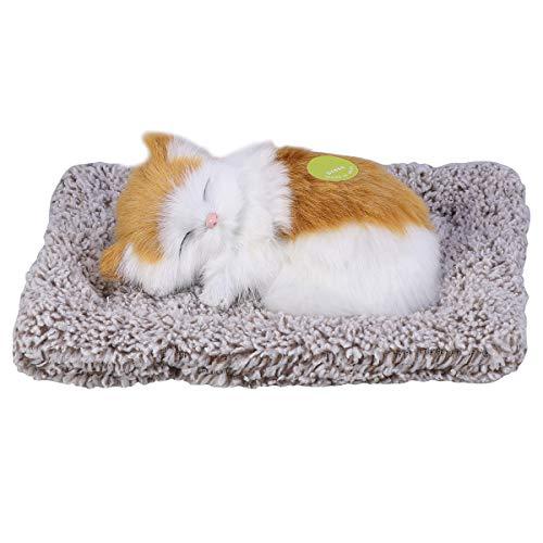 VORCOOL 本物そっくりに眠る猫のぬいぐるみ 活性炭 車 車内 空気 浄化 飾り 可愛い (イエロー)