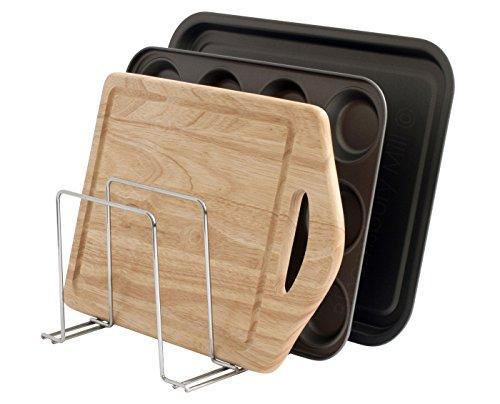 simplywire - Support pour plats de four, plateaux et planches à découper, idéal comme range-casseroles, organiseur de cuisine, blanc