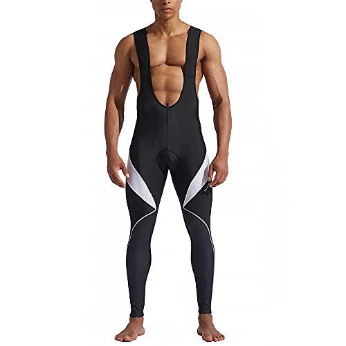 WOSAWE Homme Pantalons de Cycliste Cuissard Respirant Gel 4D Rembourré Collant à Bretelles de Cyclisme (Cuissards Blanu XL)