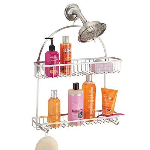 mDesign Colgador para ducha – Elegante cesta de ducha sin taladros – Estanterías para colgar de metal con dos cestas y dos ganchos para todos los accesorios para la ducha – plateado mate
