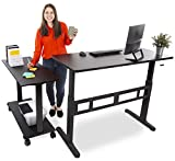 """Stand Steady L-Shaped Tranzendesk Standing Desk   Sit to Stand Desk with Add-On Desk Return   Customizable Stand Up Desk Arrangement Great for Any Office Space! (Black / 73"""" x 42"""")"""