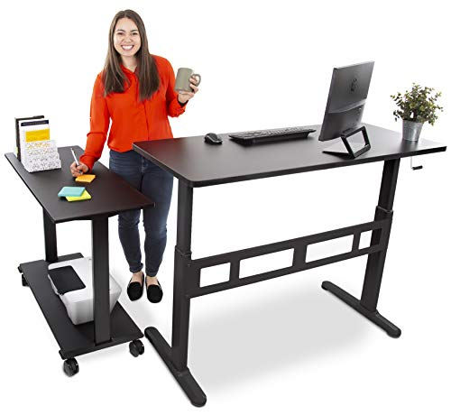 """of l shaped sit stand desks Stand Steady L-Shaped Tranzendesk Standing Desk   Sit to Stand Desk with Add-On Desk Return   Customizable Stand Up Desk Arrangement Great for Any Office Space! (Black / 73"""" x 42"""")"""