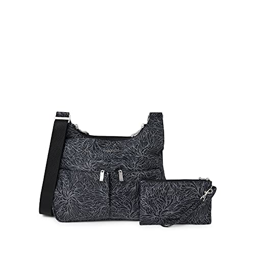 Baggallini womens Cross Over Crossbody with RFID, midnight blossom,One Size