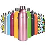 ANSIO Botella Agua Acero Inoxidable, Termo con Islamiento de Vacío de Doble Pared Libre BPA Caliente y fría Reutilizable Botella Agua para Niños, Colegio, Sport, Bicicleta - 500ML -Oro rosa cromo
