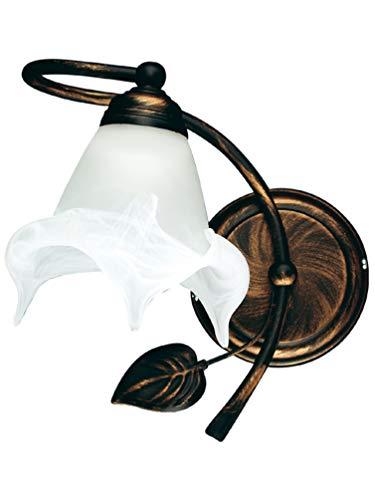 Lampex 090/K Bluszcz lampada da parete, metallo, bianco, E27