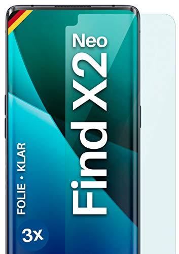 moex Klare Schutzfolie kompatibel mit Oppo Find X2 Neo - Bildschirmfolie kristallklar, HD Bildschirmschutz, dünne Kratzfeste Folie, 3X Stück