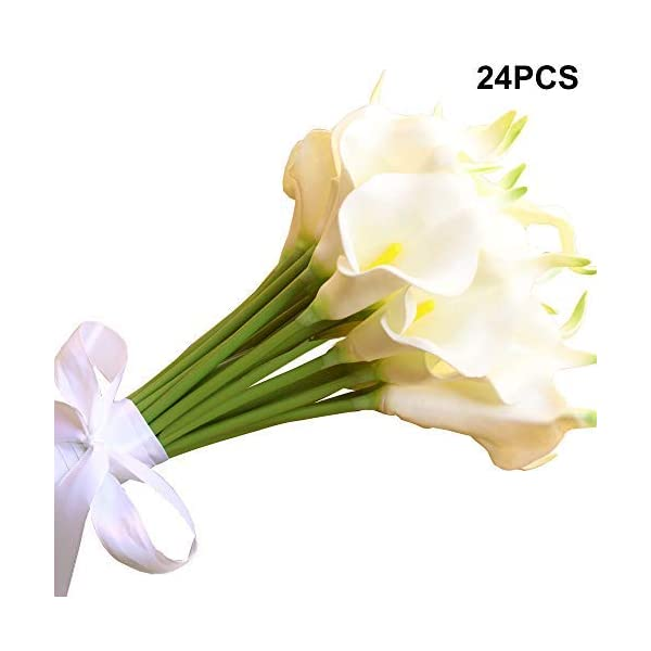 Amajoy 24PCS Ramo de Novia Nupcial Artificial Blanco Flores Artificiales Flores de Toque Real para la decoración del…