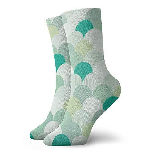 shizh Hellgrüne Meerjungfrau-Skalen Mode Kleid Socken Casual Socken Reise Sport Socken Yoga Walking Radfahren Laufen Fußball,30cm