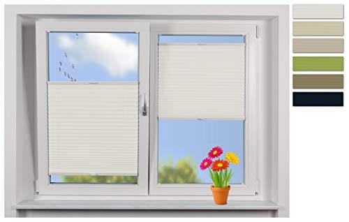 EFIXS Plissee -PRIVAT- auf Maß, Stoff: weiß, Breiten von 50-120cm, Hier: Breite bis 60cm, Höhe bis 160cm, Montage: Festschrauben im Glasfalz, Wärmeschutzbeschichtung außen