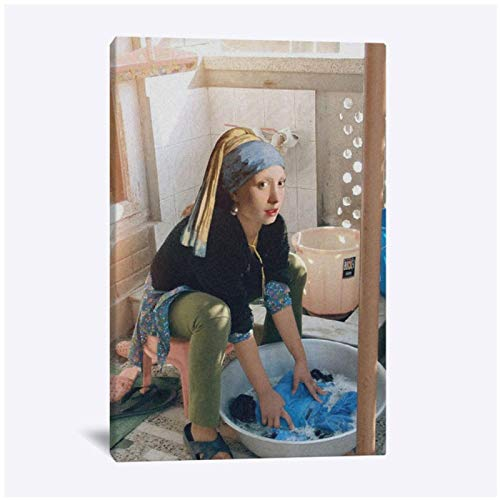 wzgsffs Girl With A Pearl Earring Funny Poster And Prints Wall Art Print On Canvas For Living Room Home Bedroom Decorative-20X28 Inchx1 Frameless