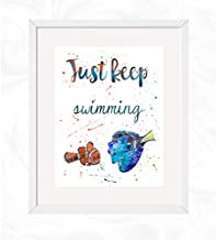 Dory and Marlin Just Keep Swimming Quote Prints, Finding Nemo Disney Watercolor, Nursery Wall Poster, Holiday Gift, Kids and Children Artworks, Digital Illustration Art