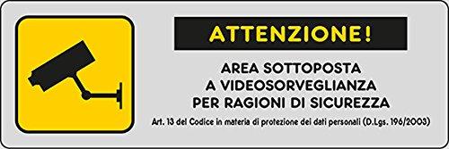 """ADESIVO CM 15X5 """"ATTENZIONE AREA SOTTOPOSTA A VIDEOSORVEGLIANZA PER RAGIONI DI SICUREZZA Art.13"""""""