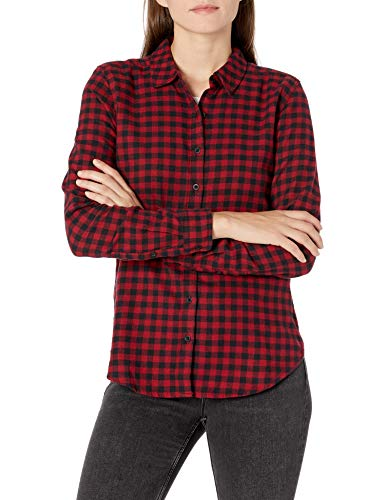 Amazon Brand - Goodthreads Women's Flannel Slim Fit Long Sleeve Shirt, Black/Deep Red Mini Buffalo Plaid , Large