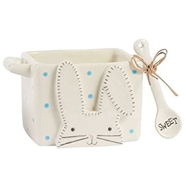 Mud Pie Easter Bunny Ceramic Candy Caddy & Spoon (Blue Dot)
