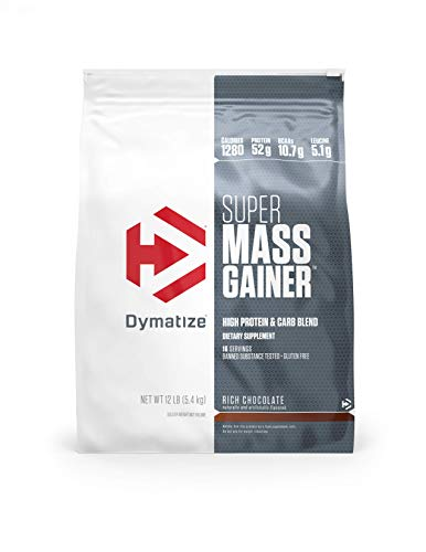 Dymatize Super Mass Gainer Protein Powder, 1280 Calories & 52g Protein, 10.7g BCAAs, Mixes Easily, Tastes Delicious, Rich Chocolate, 12 lbs