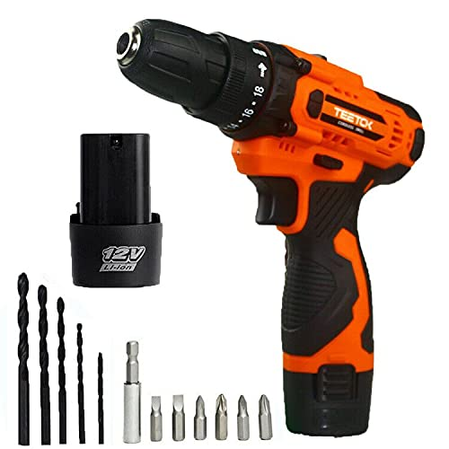 Cordless Drill Electric Screwdriver Rechargeable with 2 Batteries Hand Drill Set 2 Speed 12V