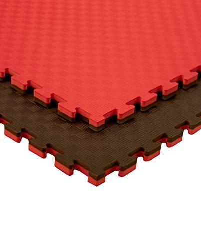 JOWY Estructura Tatami Puzzle para Gimnasio Artes Marciales Judo | Suelo Tatami Profesional 25mm Color Rojo y Negro Reversible Acabado 5 Líneas