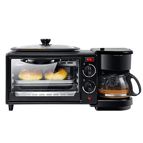 KYLINDRE 3-en-1 Machine de Petit déjeuner, électrique Multifonction cafetière poêle 9L Four avec Plaque de Cuisson pour Le Pain Pizza Oeuf Frit, résistant à l'huile de Rouille