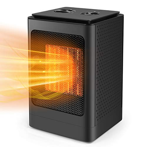 Portable Electric Space Heater - 1500W Fast Heating with Thermostat, Small Ceramic Heater/Fan Mode, Tip-Over & Overheat Protection, Personal & Quiet for Office Room Desk Indoor Use(Black)