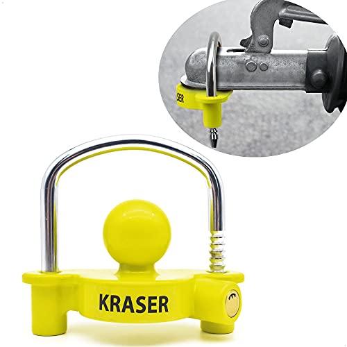 KRASER KR815 Antirrobo Remolque Candado Enganche Bola Caravana, Universal, Amarillo Fluorescente