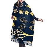 Bufanda de mantón Chales para, Bufanda de invierno unisex con tacto de cachemira clásica, colección de elementos decorativos dorados, estilo oriental, bufandas largas y cálidas, estola de chal