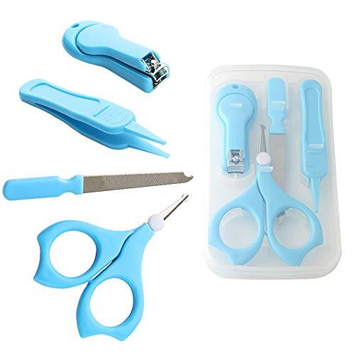 FULARR Baby-Nagel-Pflegeset(4 Stück), Baby Grooming Set,Babypflege Kit Nagelpflege Set Mit Baby Nagelschere, Baby Nagelknipser, Glasnagelfeile und Nasenpinzette – Blau