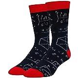 Rusaly Hombres adultos otoño e invierno calcetines de tubo fórmula matemática impresión casual deportes estampado patchwork lindo medio mullido calcetines familia 601 (Talla única, Negro)