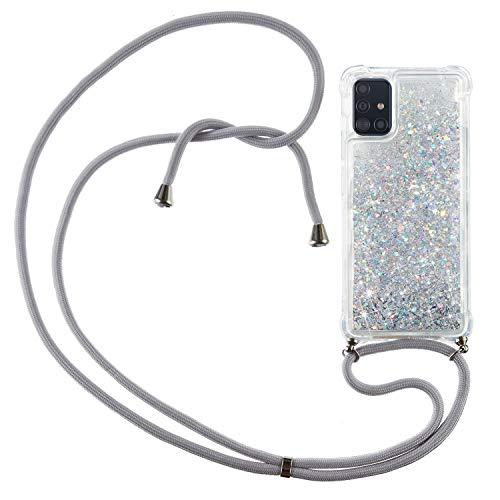 HülleLover Handykette Handyhülle für Samsung Galaxy A71, Glitzer Flüssig Bewegende Treibsand Transparent Silikon Hülle mit Kordel zum Umhängen Necklace Phone Hülle Band für Samsung Galaxy A71, Argent