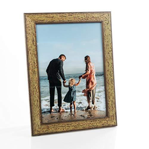 Victoria Collection - Marco de fotos de madera para fotos A4, 4 x 6 (10 x 15), 8 x 6 (15 x 20), marco de fotos de pie adecuado para escritorio y pared | Verde A4