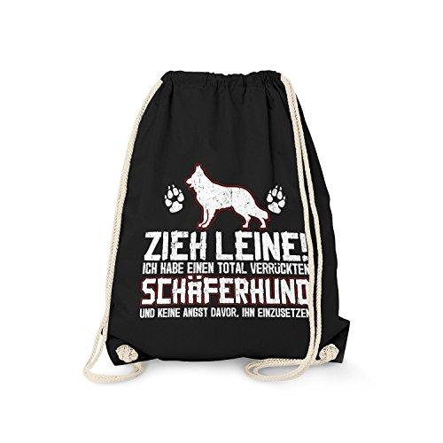 Fashionalarm Turnbeutel - Zieh Leine - verrückter Schäferhund | Fun Rucksack mit Spruch Geschenk Idee Rasse Hunde Besitzer Züchter Deutscher, Farbe:schwarz