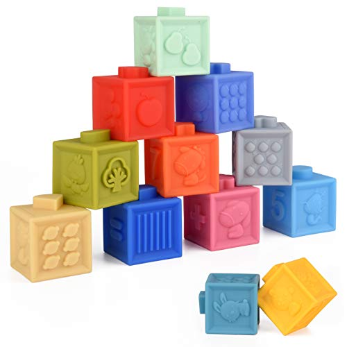 LP Design Stack'em Squeeze Blocks for Babies | Montessori Toys for Babies | Building Blocks for Toddlers Development, Sensory, Teething, Stacking Toys | 12 Assorted Colors and Multi-Face Blocks