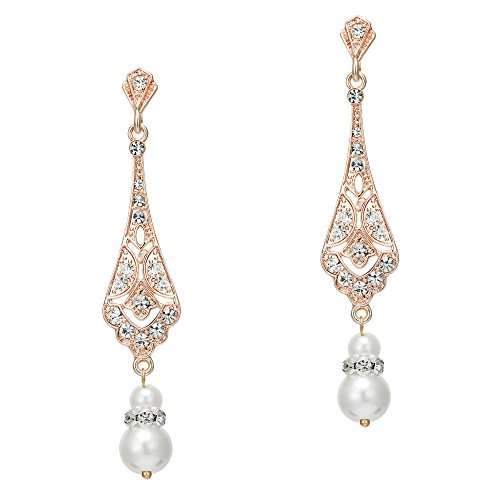 Coucoland 1920s Retro Stil Ohrringe Damen Perlen Dangle Ohrringe Inspiriert von Great Gatsby Damen Kostüm Accessoires (Stil 2-Rose Gold)