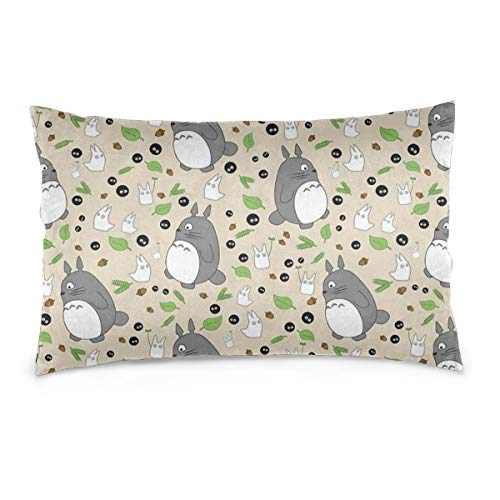 HAMANY Rectangular Both-Printed Pillowcases Waist Cushion Bed Covers My Neighbour Totoro Pattern - Colour! Decorative Both-Printed Pillow Case(3 Size Choose)