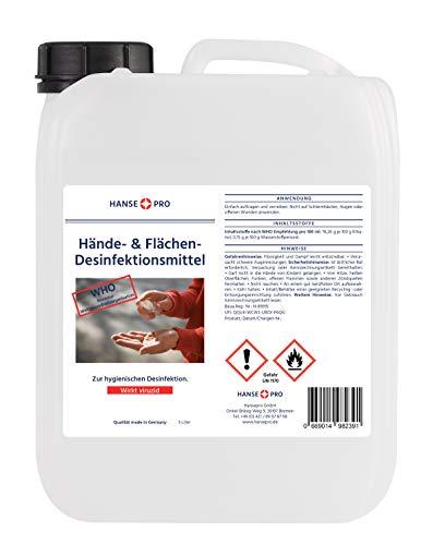 Hansepro Hände- & Flächen-Desinfektionsmittel, 5 Liter Kanister I Händedesinfektion I Hygiene I für Hand, Haut und Flächen I im praktischen Vorrats-Kanister