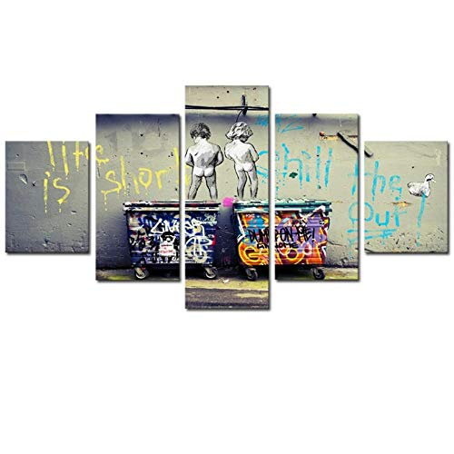 MSDEWLH canvasdruk 5 panelen schilderij plank banks kunstleven is korte chill eend uit de muur kind bier muurschildering hoofddecoratie kunst 200x100cm(80