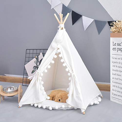 AcTek Pet Teepee Portable Pet Play Tent Indian Canvas Dog Bed Tipi House with Cotton Mat (M, White)