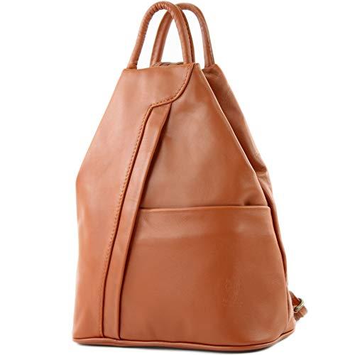 modamoda de - T180 - ital Damen Rucksack Tasche Nappaleder, Farbe:Cognac