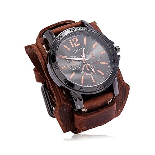 UUK Reloj De Pulsera Steampunk Vintage Reloj De Pulsera De Cuero De Banda Ancha Retro Medieval Reloj De Cuarzo Deportivo con Esfera Grande Ajustable para Hombres Y Mujeres,Marrón