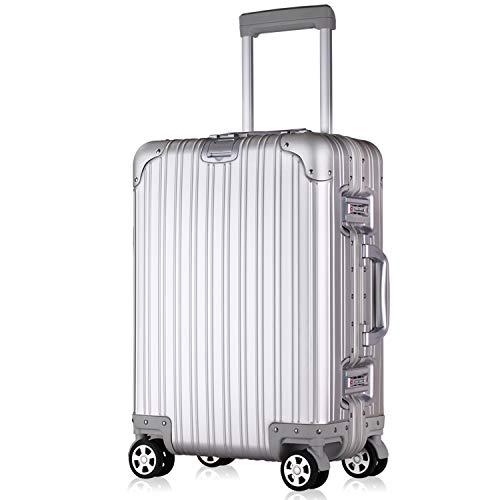 Lesige スーツケースキャリーケースTsaのロック搭載3段階調節アルミ・マグネシウム合金製キャリーバッグ360度回転超静音キャスター旅行出張大容量軽量保護カバー付き180日保証することで(シルバー、Lサイズ(7泊以上用・託送が必要・95L))