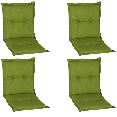 Beo, Nice NL, set van 4 stuks, luxe schuimkussen, aangenaam zitcomfort, rugleuning, ongeveer 100 x 52 cm, 7 cm dik, groen